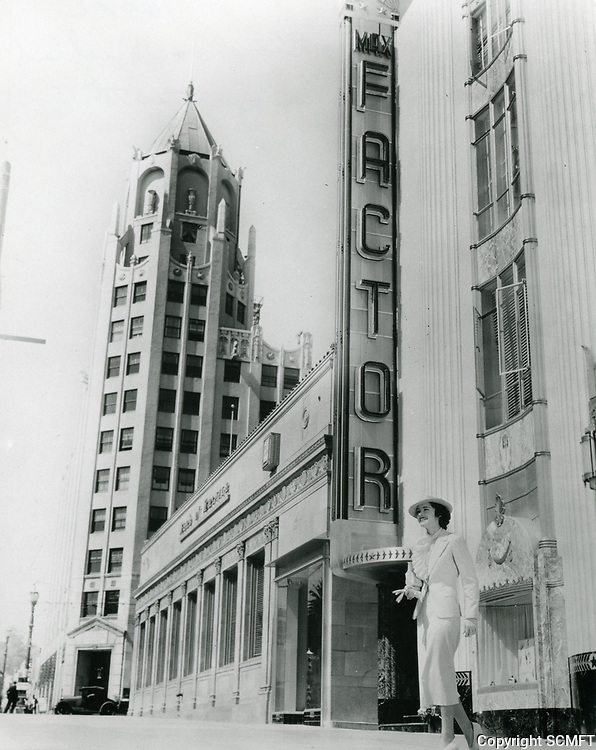 1936 Marsha Hunt in front of the Max Factor Salon on Highland Ave.