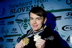 Snowboarder Rok Flander, the first in Parallel Giant Slalom at World Snowboard Championships 2007 in Arosa, picture taken in his home village Dragocajna near Smlednik,  Slovenia, when he came from Switzerland on January 19, 2007. (Photo by Vid Ponikvar / Sportal Images).