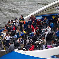 Europe, Netherlands, Amsterdam. Bicycle Ferry in Amsterdam.