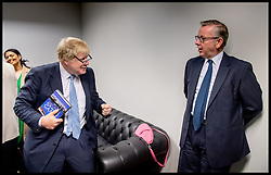Image ©Licensed to i-Images Picture Agency. 19/06/2016. London, United Kingdom. Vote Leave rally with Boris Johnson in the green room with Michael Gove, Kate Hoey, Steve Hilton,before they go on stage at the Vote Leave rally  in Central London. Picture by Andrew Parsons / i-Images