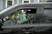 CENTERVILLE - Coco DiGirolamo Trudnak, 5, and her mother, Liz DiGirolamo, wave as Barnstable community liaison officer Brian Morrison leads a birthday parade of police and fire vehicles as well as friends and family for Coco's 5th birthday on Monday, April 20, 2020.