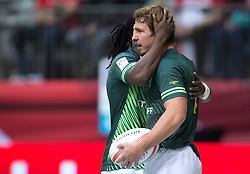 March 12, 2016 - Vancouver, BC, Canada - South Africa's Kwagga Smith, right, and Seabelo Senatla celebrate Smith's try against Scotland during World Rugby Sevens Series' Canada Sevens tournament action, in Vancouver, B.C., on Saturday March 12, 2016. THE CANADIAN PRESS/Darryl Dyck (Credit Image: © Darryl Dyck/The Canadian Press via ZUMA Press)