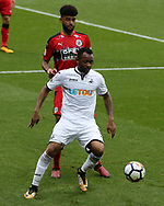 Jordan Ayew of Swansea city in action. Premier league match, Swansea city v Huddersfield Town at the Liberty Stadium in Swansea, South Wales on Saturday 14th October 2017.<br /> pic by  Andrew Orchard, Andrew Orchard sports photography.