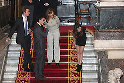 © Licensed to London News Pictures. 26/04/2012.  The family of adventurer Lt Col Henry Worsely peek over the bannister of Goldsmiths Hall as they await the arrival of Prince William and Lady Katherine at Goldsmiths Hall.  The Royal couple were attending the venue to welcome back Henry and his team after completing a 900 mile race across the South Pole to raise money for the Royal British Legion.  Photo credit: Alison Baskerville/LNP