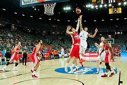 Damjan Rudez of Croatia vs Worthy de Jong of Netherlands during basketball match between Netherlands and Croatia at Day 5 in Group C of FIBA Europe Eurobasket 2015, on September 9, 2015, in Arena Zagreb, Croatia. Photo by Vid Ponikvar / Sportida