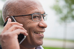 Communication African businessman mobile phone