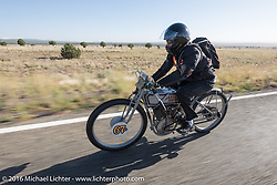 Harley-Davidson Museum Archive Restorer/Conservator Bill Rodencal of Wisconsin on his 1915 Harley-Davidson during the Motorcycle Cannonball Race of the Century. Stage-13 ride from Williams, AZ to Lake Havasu CIty, AZ. USA. Friday September 23, 2016. Photography ©2016 Michael Lichter.