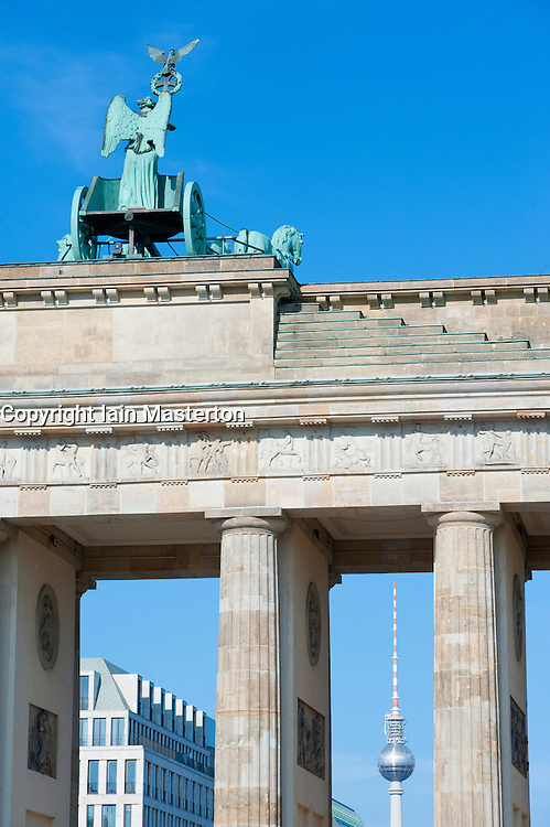Detail of Brandenburg Gate and Fernsehturm  in Berlin Germany