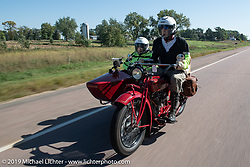 Gene Harper and Jan Carl (navigating from the sidecar) rode their 1924 Indian Chief in the Motorcycle Cannonball coast to coast vintage run. Stage 8 (314 miles) from Spirit Lake, IA to Pierre, SD. Saturday September 15, 2018. Photography ©2018 Michael Lichter.