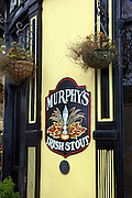 Murphy's Irish Stout sihn outside a pub, in Cobh, Cork, Ireland. Murphy is a Cork-based brand of black beer, or stout.