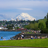 """A perfect Northwest Saturday afternoon in June w/Mt. Rainer """"out"""" as seen from the Ruston Way waterfront in Tacoma during the 2010 Rainer to Ruston relay race."""