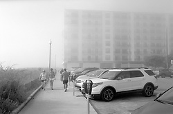 Heavy fog obscures the Henlopen Hotel, fronting the boardwalk in Rehoboth Beach, Del., Saturday, Aug. 17, 2019. (Photo by D. Ross Cameron)