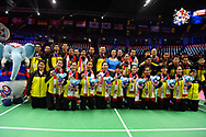 BANGKOK, THAILAND - MAY 26: Team Thailand photo shoot on Court 1 with their gold medals after the Medals Presentation at the BWF Total Thomas and Uber Cup Finals 2018, Impact Arena, Bangkok, Thailand on May 26, 2018.<br /> .<br /> .<br /> .<br /> (Photo by: Naratip Golf Srisupab/SEALs Sports Images)<br /> .<br /> Any image use must include a mandatory credit line adjacent to the content which should read: Naratip Golf Srisupab/SEALs Sports Images