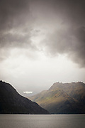 Landscape with view of mountains across Lake Wakatipu, near Queenstown, South Island, New Zealand