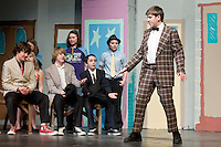 """""""Sit Down! You're Rocking the Boat"""" performed by Christian Ayer as Nicely-Nicely Johnson during dress rehearsal for Gilford Middle School's production of """"Guys and Dolls"""" to open on Thursday evening at the Gilford High School auditorium.   (Karen Bobotas/for the Laconia Daily Sun)"""