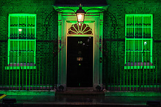 2019-06-13 Grenfell: Downing Street lit in green