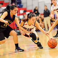 010314  Adron Gardner/Independent<br /> <br /> Grants Pirate Destiny Chavez (14), center, dives between Kirtland Central Broncos Orquidea Reyes (12), left, and Shamika Benally (23) in Grants Friday.