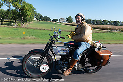 Frank Westfall riding his 1916 Henderson in the  Motorcycle Cannonball coast to coast vintage run. Stage 8 (314 miles) from Spirit Lake, IA to Pierre, SD. Saturday September 15, 2018. Photography ©2018 Michael Lichter.