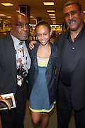 """l to Thomas Newkirk, Mykel Mairne and Michael Mairne at the reading of ' Letters from Black America """" A Dramatic Reading with Editor Pamela Newkirk and actors Ruby Dee and Anthony Chisholm held at Barnes & Noble at 82nd Street on July 15, 2009 in New York City"""