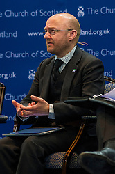 Pictured: Partick Harvey<br /> <br /> The People Politics Hustings,  organised by the Church of Scotland, allowed voters to question SNP deputy John Swinney, Scottish Labour leader Kezia Dugdale, Scottish Liberal Democrat leader Willie Rennie, Scottish Greens co-convener Patrick Harvie and former Scottish Conservatives leader Annabel Goldie ahead of the Scottish Elections. Before the politicians had a chance to speak they had a chance to listen to five speakers with different viewpoints on how Scotland has supported them in the past and how it should support them in the future..<br /> Ger Harley   EEm 4 April 2016