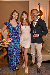 Left to right, Sabrina Percy, Carl Waxberg and Stephanie Waxberg at the Belmond Cadogan Hotel Grand Opening, Sloane Street, London England. 16 May 2019. <br /> <br /> ***For fees please contact us prior to publication***