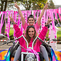 REPRO FREE<br /> Stephanie O'Mahony and Lily Patton on a trike from the Shamrock Rose Motocycle Club pictured at the 2019 Kinsale Pink Ribbon Walk in aid of the Irish Cancer Society Action Breast Cancer.<br /> Picture. John Allen