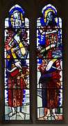 Modern stained glass window in church of Saints Peter and Paul, Marden, Wiltshire, England, UK by Jasper and Molly Kettlewell 1958