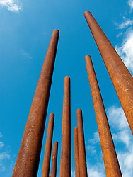 New steel sculpture representation of Berlin Wall at Berlin Wall Memorial site at Bernauer Strasse in Berlin Germany