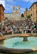 The Spanish Steps (Italian: Scalinata della Trinità dei Monti) are a set of steps in Rome, Italy, climbing a steep slope between the Piazza di Spagna at the base and Piazza Trinità dei Monti, dominated by the church of Trinità dei Monti. The Scalinata is the longest and widest staircase in Europe.