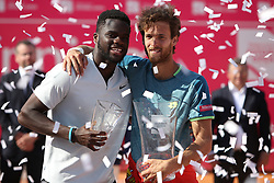 May 6, 2018 - Estoril, Portugal - Joao Sousa of Portugal (R ) and Frances Tiafoe of US pose with the trophys after the Millennium Estoril Open ATP 250 tennis tournament final, at the Clube de Tenis do Estoril in Estoril, Portugal on May 6, 2018. (Joao Sousa won 2-0) (Credit Image: © Pedro Fiuza/NurPhoto via ZUMA Press)