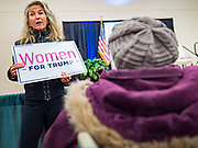 16 JANUARY 2020 - DES MOINES, IOWA: KELLEY KOCH from Dallas County (IA) Republicans makes an announcement encouraging people to register to vote at the Women for Trump rally in Airport Holiday Inn in Des Moines. About 200 women attended the event, which featured Lara Trump, Mercedes Schlapp, and Kayleigh McEnany, surrogates on the campaign trail for President Donald Trump.         PHOTO BY JACK KURTZ