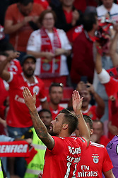 October 7, 2018 - Lisbon, Portugal - Benfica's Suisse forward Haris Seferovic celebrates with teammates after scoring during the Portuguese League football match SL Benfica vs FC Porto at the Luz stadium in Lisbon on October 7, 2018. (Credit Image: © Pedro Fiuza/NurPhoto/ZUMA Press)