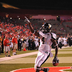 Sep 19, 2009; Piscataway, NJ, USA; Florida International wide receiver T.Y. Hilton (4) makes a catch for a two point conversion during the closing minutes of the second half of Rutgers' 23-15 victory over Florida International at Rutgers Stadium.