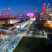 Downtown Kansas City aerial panorama photo at dusk