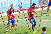 Andres Iniesta and David Villa during the training of the spanish national football team in the city of football of Las Rozas in Madrid, Spain. August 28, 2017. (ALTERPHOTOS/Rodrigo Jimenez)