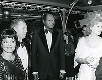 "1979 (L to R) Councilwoman Peggy Stevenson, Ted Mann, Mayor Tom Bradley and Rhonda Fleming at the movie premiere of ""Hurricane"" at Mann's Chinese Theater"