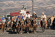 Mexican cowboys process to the Cristo Rey shrine on top Cubilete Mountain at the end of the annual Cabalgata de Cristo Rey pilgrimage January 6, 2017 in Guanajuato, Mexico. Thousands of Mexican cowboys take part in the three-day ride to the mountaintop shrine of Cristo Rey.