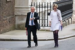 © Licensed to London News Pictures. 04/06/2018. London, UK. Secretary of State for Exiting the European Union David Davis (L) and GlaxoSmithKline CEO Emma Walmsley (R) arrive on Downing Street for a meeting of business leaders with Prime Minister Theresa May, The Chancellor of The Exchequer Philip Hammond and Secretary of State for International Trade Liam Fox. Photo credit: Rob Pinney/LNP