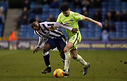 Andrew Hughes of Peterborough United battles with Fred Onyedinma of Millwall - Mandatory by-line: Joe Dent/JMP - 28/02/2017 - FOOTBALL - The Den - London, England - Millwall v Peterborough United - Sky Bet League One