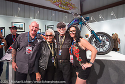 Nancy and Willie G Davidson with custom builders Roy and Nikki Martin at the Old Iron - Young Blood exhibition media and industry reception in the Motorcycles as Art gallery at the Buffalo Chip during the annual Sturgis Black Hills Motorcycle Rally. Sturgis, SD. USA. Sunday August 6, 2017. Photography ©2017 Michael Lichter.