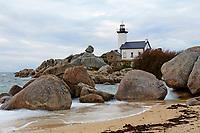 France, Finistère (29), Brignogan-Plages, le phare de Pontusval sur la Pointe de Beg-Pol // France, Briitany, Finistere, Brignogan-Plages, Pontusval lighthouse.