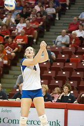25 SEP 2005<br /> <br /> Creighton Blujays Amanda Cvejdlik makes a 2 handed save.<br /> <br /> The Creighton Bluejays failed to win a single game as the Illinois State Redbirds won 3 in a row to settle the match.  Play took place at Redbird Arena on the campus of Illinois State University in Normal IL.