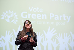 © Licensed to London News Pictures.  26/05/2017; Bristol, UK. General Election 2017; AMELIA WOMACK. Green Party campaign in their number one target seat, Bristol West where they hope to gain their second Green MP with candidate Molly Scott Cato (currently MEP for the south west of England). Molly spoke with Green Party co-leader, the Green Party's only MP to date, and deputy leader Amelia Womack at a Bristol Green Society event at the University of Bristol Students Union Winston Theatre.<br /> Picture credit : Simon Chapman/LNP