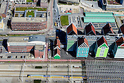 Nederland, Noord-Holland, Zaandam, 20-04-2015; Inverdan, nieuwe stadscentrum Zaandam, masterplan Sjoerd Soeters. Met Station en Stadhuis.<br /> New center of the city of Zaandam, developed according to the master plan by architect Sjoerd Soeters. Train station and city hall. The hotel built in a postmodern version of the style of the historic houses of Zaandam - Inntel Hotel - was designed by Wilfried van Winden.<br /> luchtfoto (toeslag op standard tarieven);<br /> aerial photo (additional fee required);<br /> copyright foto/photo Siebe Swart