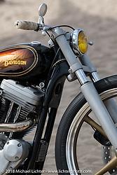 Aaron Eliott's custom 1996 Harley-Davidson Sportster in the RSD Moto Beach Classic custom bike show. Huntington Beach, CA, USA. Sunday October 28, 2018. Photography ©2018 Michael Lichter.