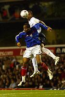 Photo: Chris Ratcliffe.<br /> England v France. U21 European Championships.<br /> 11/11/2005.<br /> Anton Ferdinand gets above Jimmy Briand