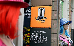 20 April 2015. New Orleans, Louisiana.<br /> Novelty T-shirts in the french Quarter. 'I Pooped today' reads one.<br /> Photo; Charlie Varley/varleypix.com