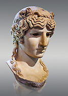 Antinous Mondragone, A Roman marble bust from circa 130 AD. Antinous was the young Bithynian favoured by the emperor Hadrian who was deified after drowning under mysterious circumstances in the waters of the Nile circa 130AD. Thanks to the promotion of the cult Antinous portraits can be found throughout the Empire in the places most frequented by Hadrian. The Borghese Collection Inv No. MR 412 or Ma 1205, Louvre Museum, Paris. .<br /> <br /> If you prefer to buy from our ALAMY STOCK LIBRARY page at https://www.alamy.com/portfolio/paul-williams-funkystock/greco-roman-sculptures.html- Type -    Louvre    - into LOWER SEARCH WITHIN GALLERY box - Refine search by adding a subject, place, background colour,etc.<br /> <br /> Visit our CLASSICAL WORLD HISTORIC SITES PHOTO COLLECTIONS for more photos to download or buy as wall art prints https://funkystock.photoshelter.com/gallery-collection/The-Romans-Art-Artefacts-Antiquities-Historic-Sites-Pictures-Images/C0000r2uLJJo9_s0c