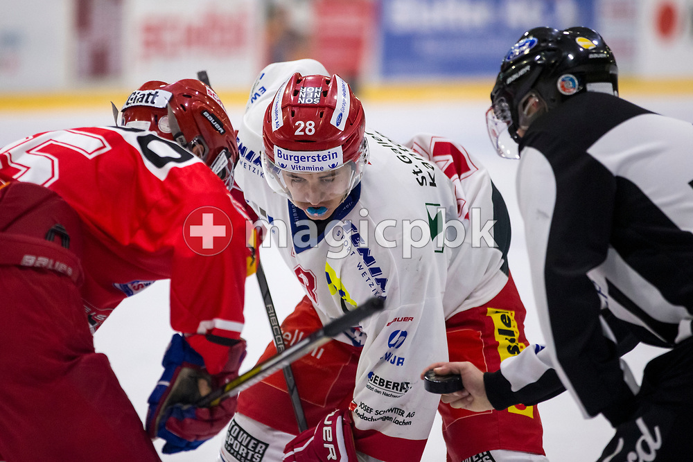Rapperswil-Jona Lakers forward Siro Rutzer is pictured during an Elite B Regular Season ice hockey game between EHC Winterthur and Rapperswil-Jona Lakers in Winterthur, Switzerland, Sunday, Oct. 15, 2017. (Photo by Patrick B. Kraemer / MAGICPBK)