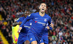 """Chelsea's Eden Hazard celebrates scoring his side's second goal of the game during the Carabao Cup, Third Round match at Anfield, Liverpool. PRESS ASSOCIATION Photo. Picture date: Wednesday September 26, 2018. See PA story SOCCER Liverpool. Photo credit should read: Martin Rickett/PA Wire. RESTRICTIONS: EDITORIAL USE ONLY No use with unauthorised audio, video, data, fixture lists, club/league logos or """"live"""" services. Online in-match use limited to 120 images, no video emulation. No use in betting, games or single club/league/player publications."""